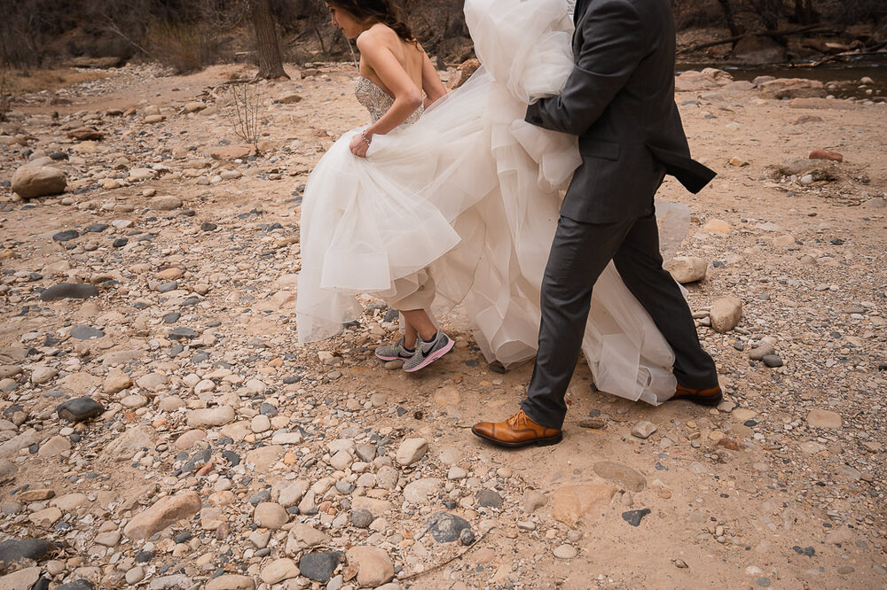 How to hike in a wedding dress — The Drawhorns